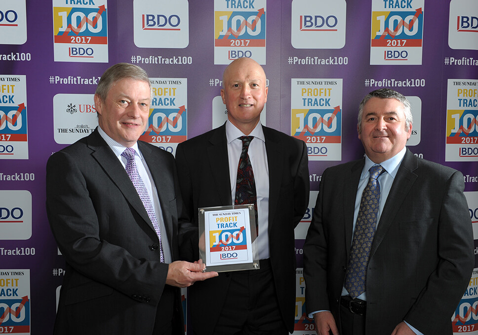 Castle View Directors, David Bibby, Martin Bell and Mark Drysdale recently attended The Sunday Times BDO Profit Track 100 Awards Dinner 2017.